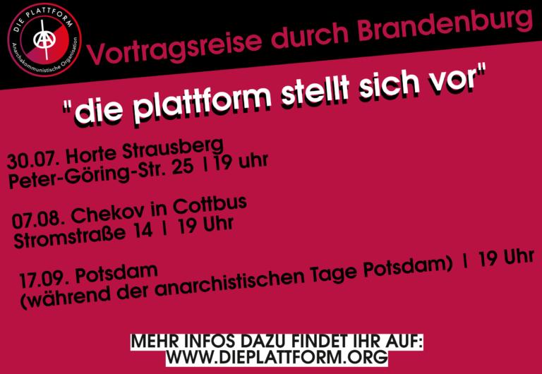 Vortragsreise durch Brandenburg